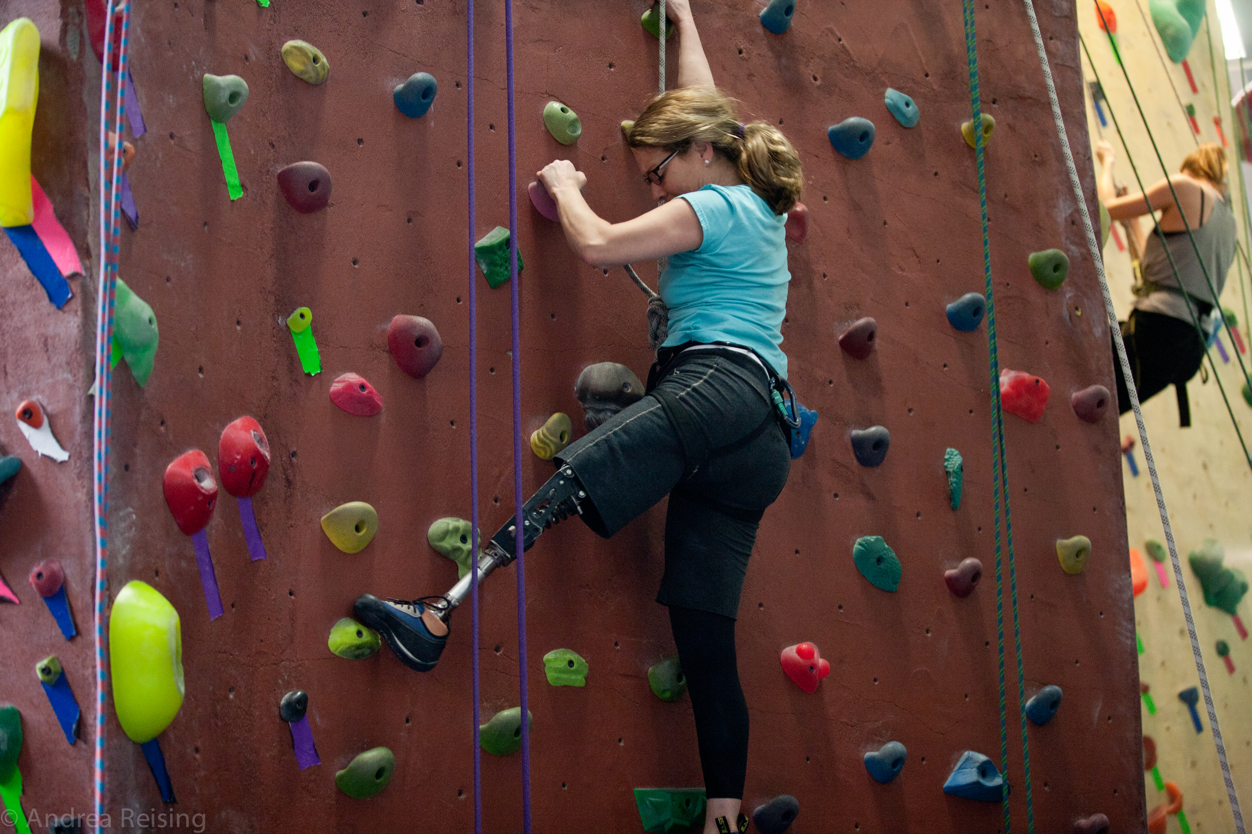 Adaptive Climbing Participant Tackles the Wall