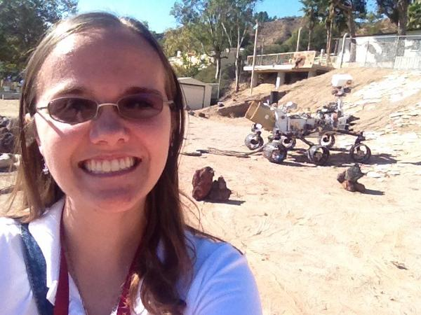 Keri Bean in the NASA JPL Mars Yard, with the Curiosity test-bed twin 'Maggie'