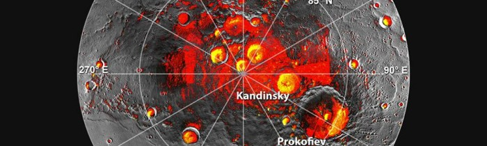 Messenger detects the presence of polar ice on Mercury. The spots shown in yellow are believed to be water. Source: Image Credit: NASA/Johns Hopkins University Applied Physics Laboratory/Carnegie Institution of Washington/National Astronomy and Ionosphere Center, Arecibo Observatory