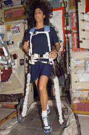 Sunita Williams exercising on the ISS. Photo credit NASA.