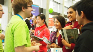 Students interact with enrichment exhibitors at Science Expo 2013: Derive and Integrate.