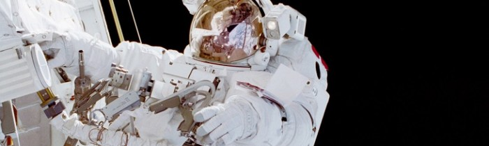 Australian Andy Thomas during a spacewalk on mission STS-102 in 2001. Credit: NASA
