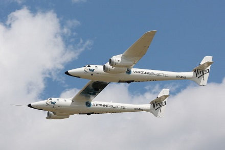 WhiteKnightTwo, the carrier craft aiming to eventually bring Virgin Galactic's SpaceShipTwo into space. Credit: D. Miller/Wikimedia Commons