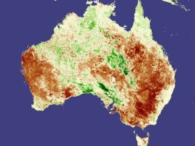 A false-colour view of Australia during the drought season. Credit: NASA images created by Jesse Allen, Earth Observatory, using data obtained courtesy of USDA FAS and processed by Jennifer Small and Assaf Anyamba, NASA GIMMS Group at Goddard Space Flight Center